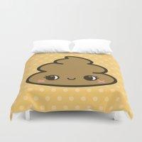 poop Duvet Covers featuring Cutey poop by peppermintpopuk