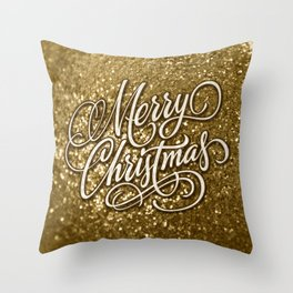 Glitter Gold Xmas Throw Pillow