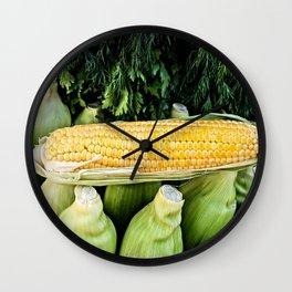 Yellow Corn Over Green Cobs Wall Clock