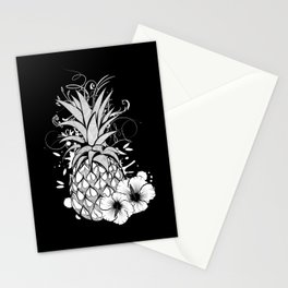 Pineapple with hibiscus blossom Stationery Cards