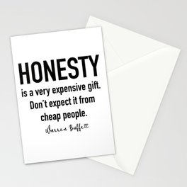 Warren Buffett Quote, Honesty is a gift Stationery Cards