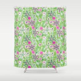Fun Preppy Whimsical Giraffe Floral Print / Pattern Shower Curtain