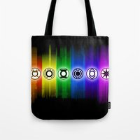 dc comics Tote Bags featuring All Lantern Corps from DC Comics by Sberla
