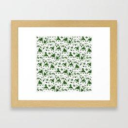 Winter Cats in Hats - Green Framed Art Print