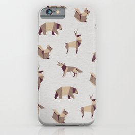 Folded Forest - Geometric Origami Animals Pattern iPhone Case