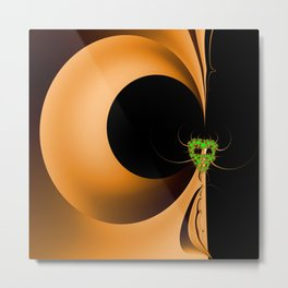 Artistic Halloween with Minimalist Fractal Abstract Mask Metal Print