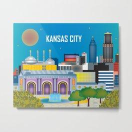 Kansas City, Missouri - Skyline Illustration by Loose Petals Metal Print