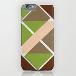 Geometric abstract pattern brown green iPhone Case