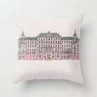 budapest hotel Throw Pillows featuring Grand Budapest by Imogan T