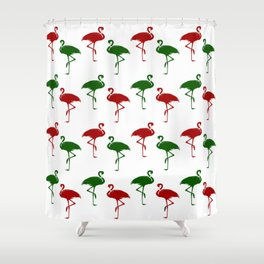 Flamingos Christmas Pattern Red Green Shower Curtain