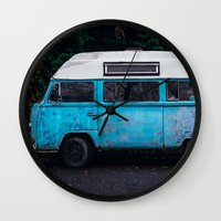 vw bus Wall Clocks featuring Vintage VW Bus Rusted  by Limitless Design