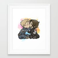 stucky Framed Art Prints featuring Stucky chibi kiss by DeanDraws