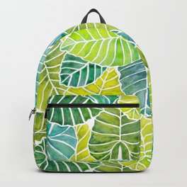Tropical Leaves Alocasia Elephant Ear Plant Blue Green Backpack