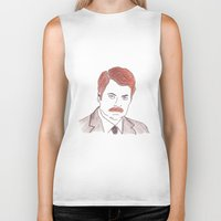 ron swanson Biker Tanks featuring Ron Swanson  by nicoleskine