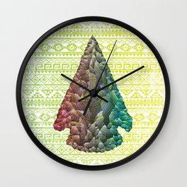 Neon Arrowhead Wall Clock