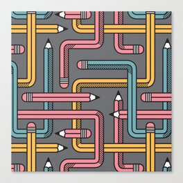Pencil Maze Pattern pastel grey multi Canvas Print