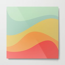 Abstract Color Waves - Bright Rainbow Metal Print