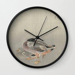 Ducks at full moon - Ohara Koson Wall Clock