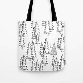 Lost in the wood, a lonely cabin Tote Bag