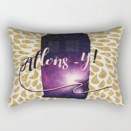 Golden Tardis Allons-y! Rectangular Pillow