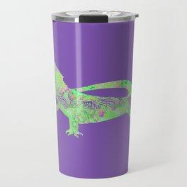 Bearded Dragon Vintage Floral Pattern Purple Green Mint Pink Shabby Chic Travel Mug