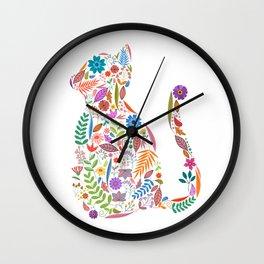 Fancy And Fine Flowered Cat Garden Design Wall Clock