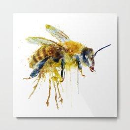 Watercolor Bee Metal Print