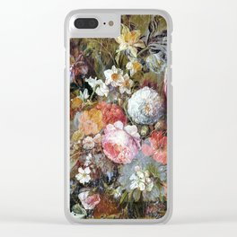 Worn vintage floral wood panel Clear iPhone Case