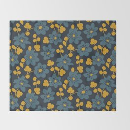Floral pattern. Hepatica flowers Throw Blanket