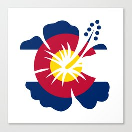 Colorado Hibiscus Flag Canvas Print