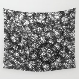 Black Ink on White Wall Tapestry