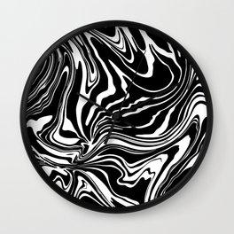 Black N White Modern Graphic Marble Wall Clock