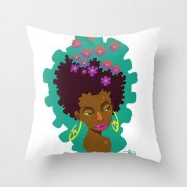 Cabelo em flor Throw Pillow