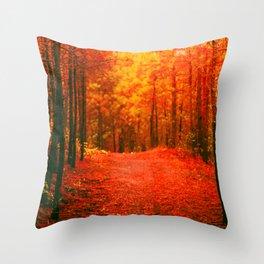 Red and Orange Autumn II Throw Pillow