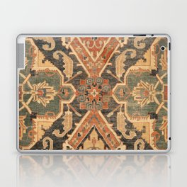 Geometric Leaves III // 18th Century Distressed Red Blue Green Colorful Ornate Accent Rug Pattern Laptop & iPad Skin