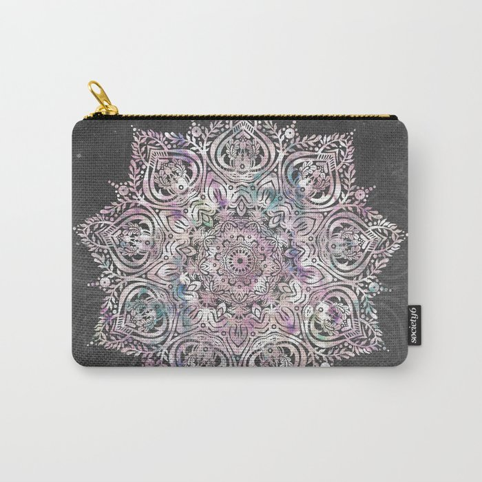 Dreaming Mandala - Magical Purple on Gray Carry-All Pouch