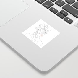 Minimal Line Art Woman with Magnolia Sticker