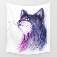 kitten Wall Tapestries featuring Cosmic Kitten by ECMazur