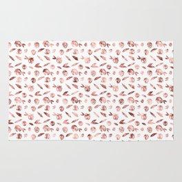 Girly Rose Gold Rosette Pattern Rug