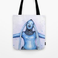 fifth element Tote Bags featuring Diva Plavalaguna | Fifth Element Watercolor Art by Olechka