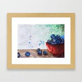 Blueberries -Watercolor Framed Art Print