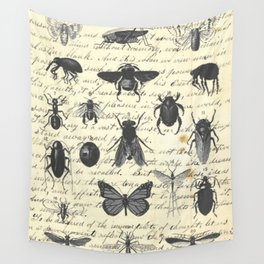 Insect Study on antique journal paper Wall Tapestry