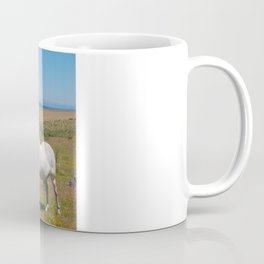 Solitary white horse on the Camino de Santiago, Spain Coffee Mug