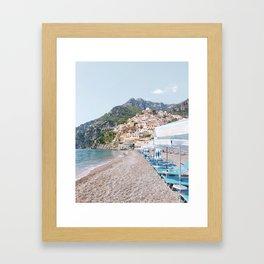 Amalfi Coast Beach Framed Art Print