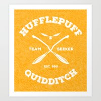 hufflepuff Art Prints featuring Hufflepuff Quidditch by Sharayah Mitchell
