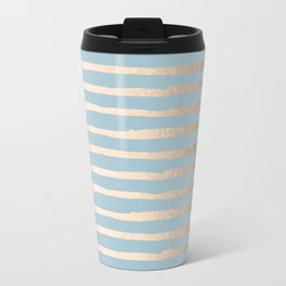Abstract Stripes Gold Tropical Ocean Sea Blue Travel Mug