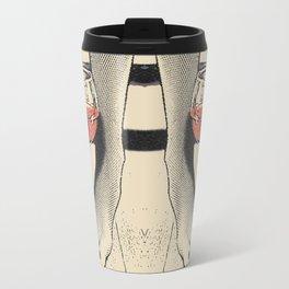 Perfect saturday night - kinky feets fetish artwork, woman in bodystocking with wine glass Travel Mug