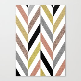 Rose Gold & Silver Herringbone Pattern Canvas Print