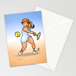 Tennis girl hitting a backhand Stationery Cards