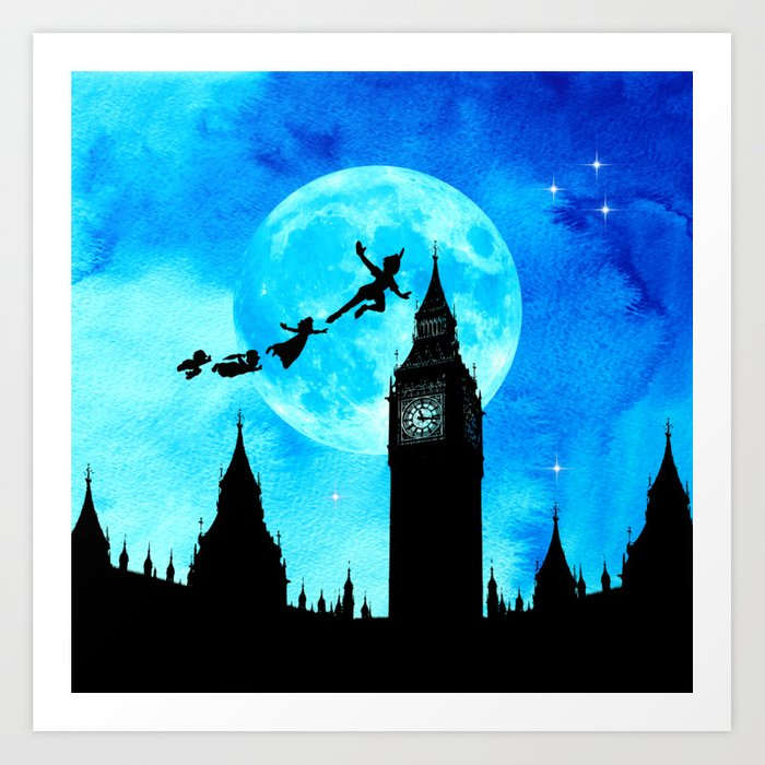 Magical Watercolor Night Peter Pan Art Print By